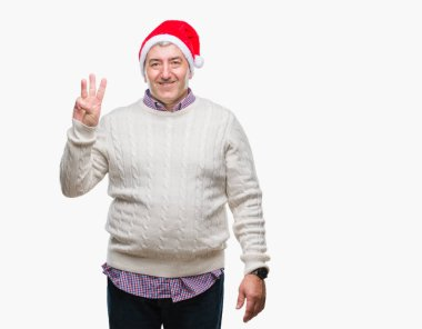 Handsome senior man wearing christmas hat over isolated background showing and pointing up with fingers number three while smiling confident and happy.