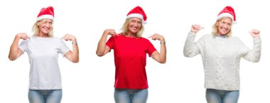 Collage of beautiful middle age blonde woman wearing christmas hat over white isolated backgroud looking confident with smile on face, pointing oneself with fingers proud and happy.