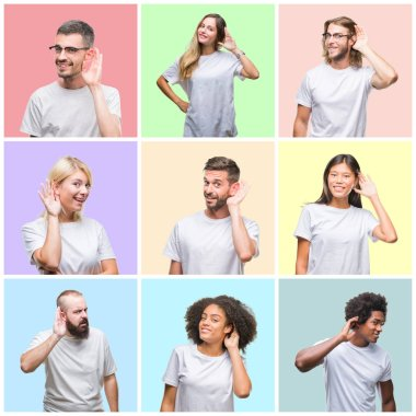 Collage of group people, women and men over colorful isolated background smiling with hand over ear listening an hearing to rumor or gossip. Deafness concept.