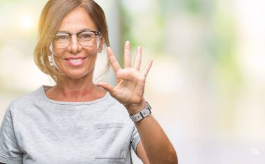 Middle age senior hispanic woman wearing glasses over isolated background showing and pointing up with fingers number five while smiling confident and happy.