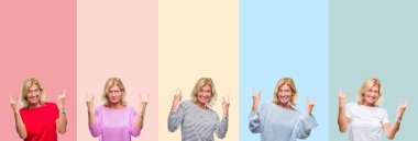 Collage of middle age senior beautiful woman over colorful stripes isolated background shouting with crazy expression doing rock symbol with hands up. Music star. Heavy concept.