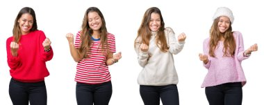 Collage of beautiful young woman over isolated background very happy and excited doing winner gesture with arms raised, smiling and screaming for success. Celebration concept.