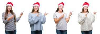 Collage of young girl wearing christmas hat over white isolated background smiling and looking at the camera pointing with two hands and fingers to the side.