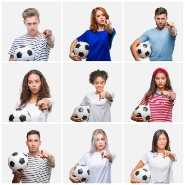 Collage of group of young people holding soccer ball over isolated background pointing with finger to the camera and to you, hand sign, positive and confident gesture from the front