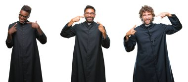 Collage of christian priest men over isolated background smiling confident showing and pointing with fingers teeth and mouth. Health concept.