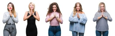 Collage of young beautiful women over isolated background praying with hands together asking for forgiveness smiling confident.
