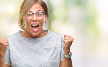 Middle age senior hispanic woman wearing glasses over isolated background celebrating surprised and amazed for success with arms raised and open eyes. Winner concept.