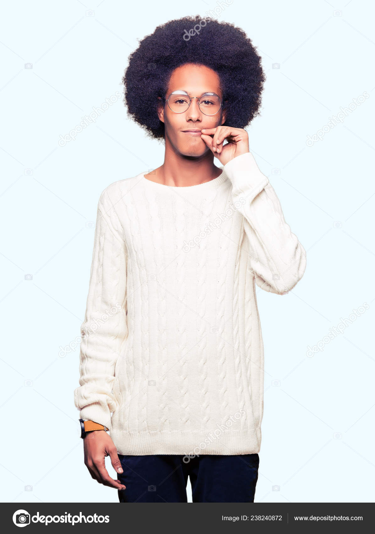 Young African American Man Afro Hair Wearing Glasses Mouth Lips