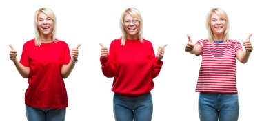 Collage of beautiful blonde woman wearing casual red over isolated background success sign doing positive gesture with hand, thumbs up smiling and happy. Looking at the camera with cheerful expression, winner gesture.