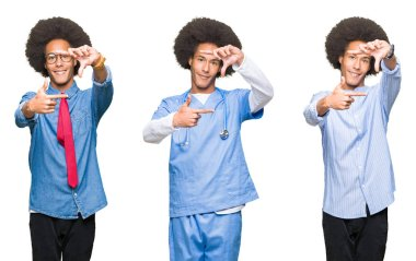 Collage of young man with afro hair over white isolated background smiling making frame with hands and fingers with happy face. Creativity and photography concept.