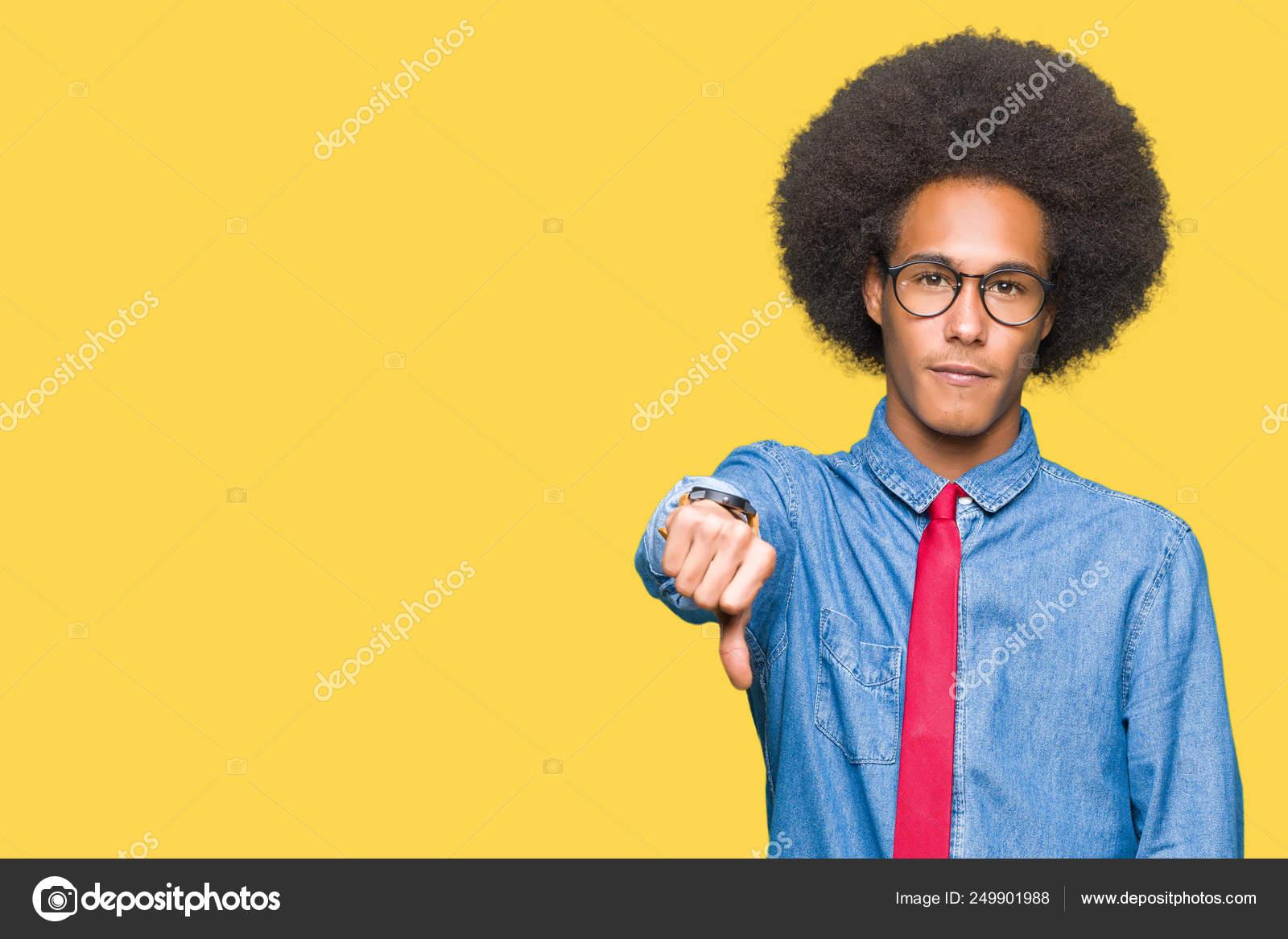 Hombre Negocios Afroamericano Joven Con Pelo Afro Con Gafas