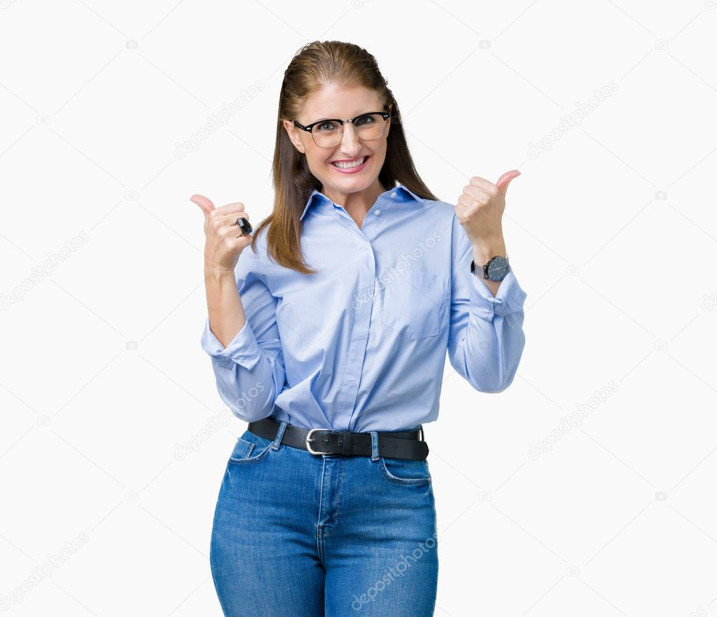 Middle Age Mature Business Woman Pointing With Finger Up Giving Advice Stock Photo
