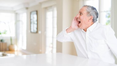 Handsome senior man at home shouting and screaming loud to side with hand on mouth. Communication concept.