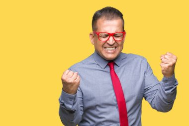 Middle age arab man wearing fashion red glasses over isolated background very happy and excited doing winner gesture with arms raised, smiling and screaming for success. Celebration concept.