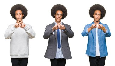 Collage of young man with afro hair over white isolated background Rejection expression crossing fingers doing negative sign