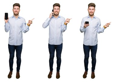 Collage of handsome young professional man using smartphone over white isolated background very happy pointing with hand and finger to the side