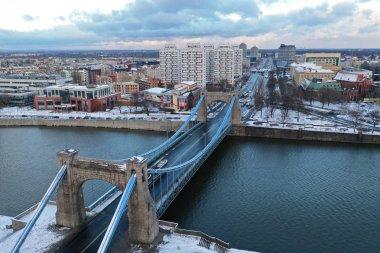 Wroclaw, Poland - January 3, 2019: Aerial view of Grunwaldzki Bridge