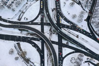 Wroclaw, Poland - January 3, 2019: Aerial view of Spoleczny Square junction