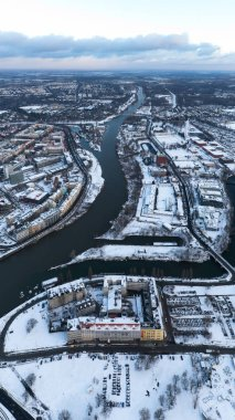 Wroclaw, Poland - January 3, 2019: Aerial view of city covered in snow