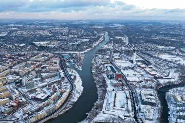 Wroclaw, Poland - January 3, 2019: Aerial view of Odra river dividing two sides of the city