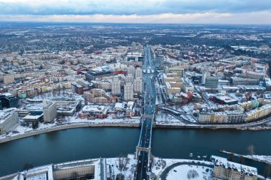 Wroclaw, Poland - January 3, 2019: Aerial view of Grunwaldzki Bridge and Grunwaldzki Square on a winter day