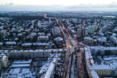 Wroclaw, Poland - January 3, 2019: Bird's eye view of city traffic