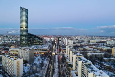 Wroclaw, Poland - January 3, 2019: Aerial view of Sky Tower and other buildings