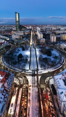 Wroclaw, Poland - January 3, 2019: Bird's eye view of Sky Tower and streets heading city centre