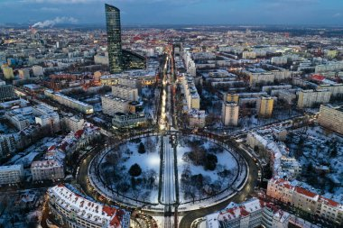 Wroclaw, Poland - January 3, 2019: Sky Tower and city traffic from above