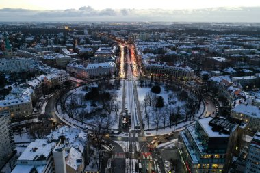 Wroclaw, Poland - January 3, 2019: Aerial view of roundabout on Powstancow Slaskich Square