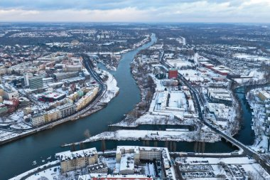 Wroclaw, Poland - January 3, 2019: View of Odra river and buildings