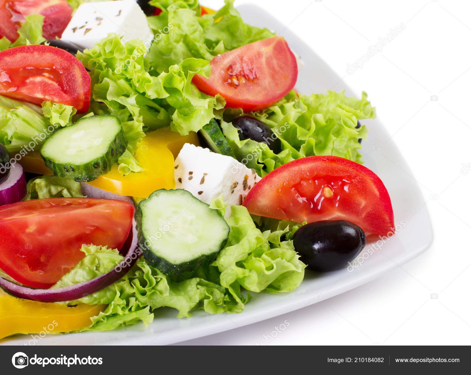 Fresh Vegetable Salad Isolated White Background Stock