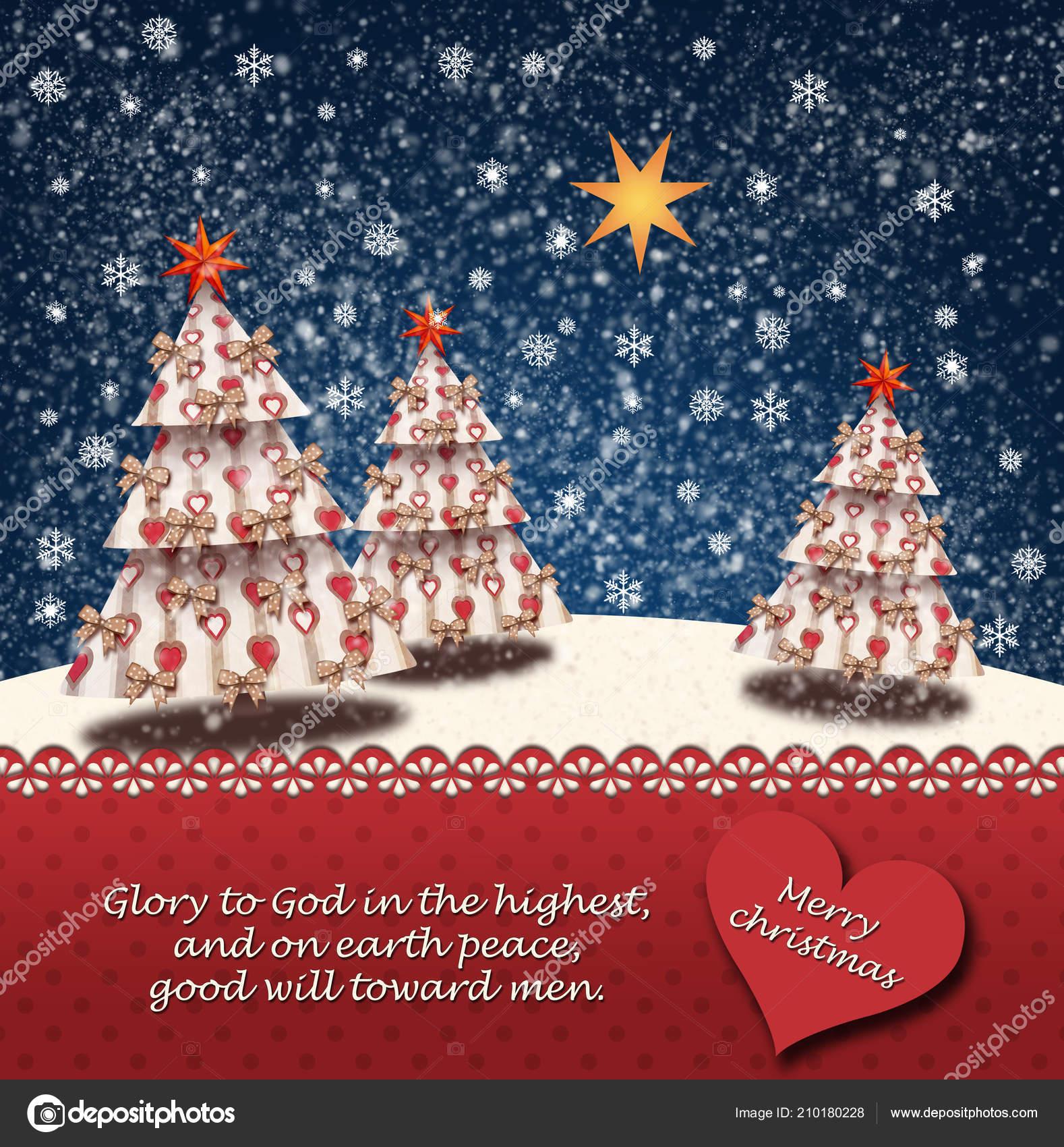 Christmas Quotes Bible.Snowy Landscape Christmas Trees Star Betlehem Bible Quotes