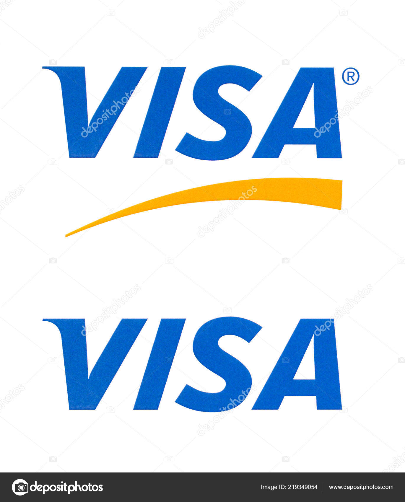 Chisinau, Moldova - September 10, 10: Visa logo printed on the paper and  placed on white background.Visa - American multinational company providing