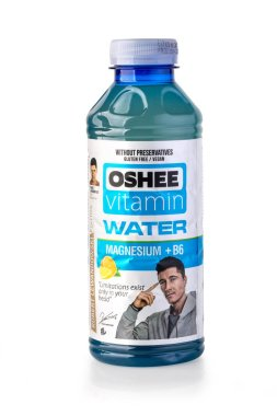 Chisinau,Moldova Julie 12, 20018: A bottle of Oshee Vitamin 555 ml. The OSHEE Company is as a Polish market leader in the isotonic sports drinks products sold per year.