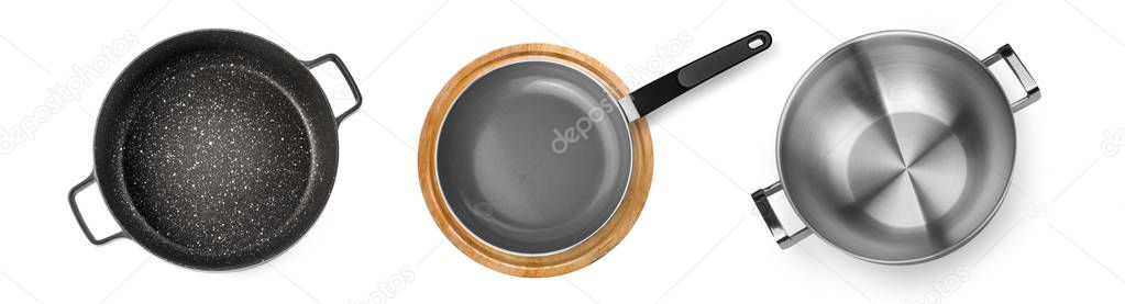 Pan with white background.Top view.Black pan