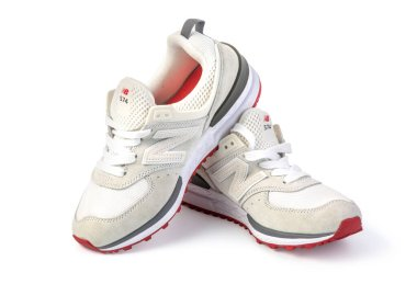 Chisinau, Moldova July 23 2020:New balance shoes model NB 574 white color on white background.With clipping path