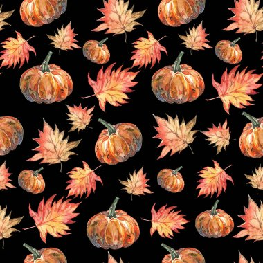 Seamless watercolor halloween pattern of autumn maple leaves and pumpkins on black background
