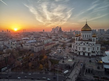 Sunset view of Moscow Cathedral of Christ the Savior in Moscow, Russia. Moscow river and patriarchal bridge in Moscow, Russia. aerial view
