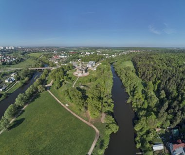 Aerial panorama view of the Church of the Sign of the Blessed Virgin Mary in Dubrovitsy, Moscow region.