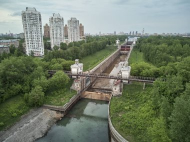 Russia, Moscow, May 2019 - Repairing of Sluice number 8 on the chanel Moscow-Volga, aerial drone view
