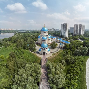 The domes of the Church of the Holy Trinity in Orekhovo-Borisovoon kashirskoe highway, Moscow, Russia. Aerial drone view
