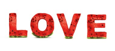 Stylized Love Text by Watermelon Letters isolated on white Background. Love and Romantic Concept. 3D Rendering stock vector