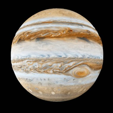 Jupiter Planet Isolated on black background. Elements of this image furnished by NASA. 3D Rendering