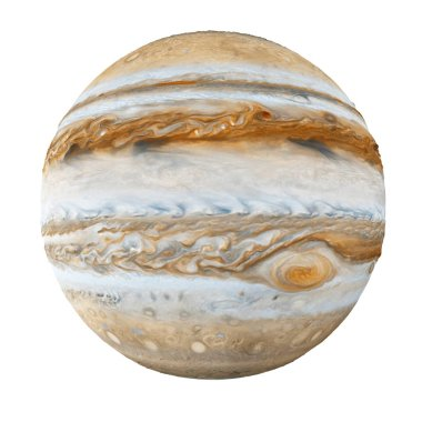 Jupiter Planet Isolated on white background. Elements of this image furnished by NASA. 3D Rendering