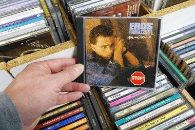 THE NETHERLANDS - MARCH 2019: Album: Eros Ramazzotti - Musica e,  CD record of the store.Italian musician, singer and songwriter Eros Ramazzotti in a second hand store.