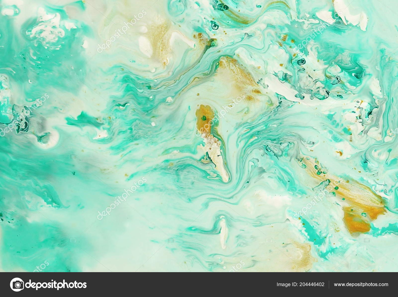 Abstract Marble Pastel Blue Mint Gold Color Paint Background
