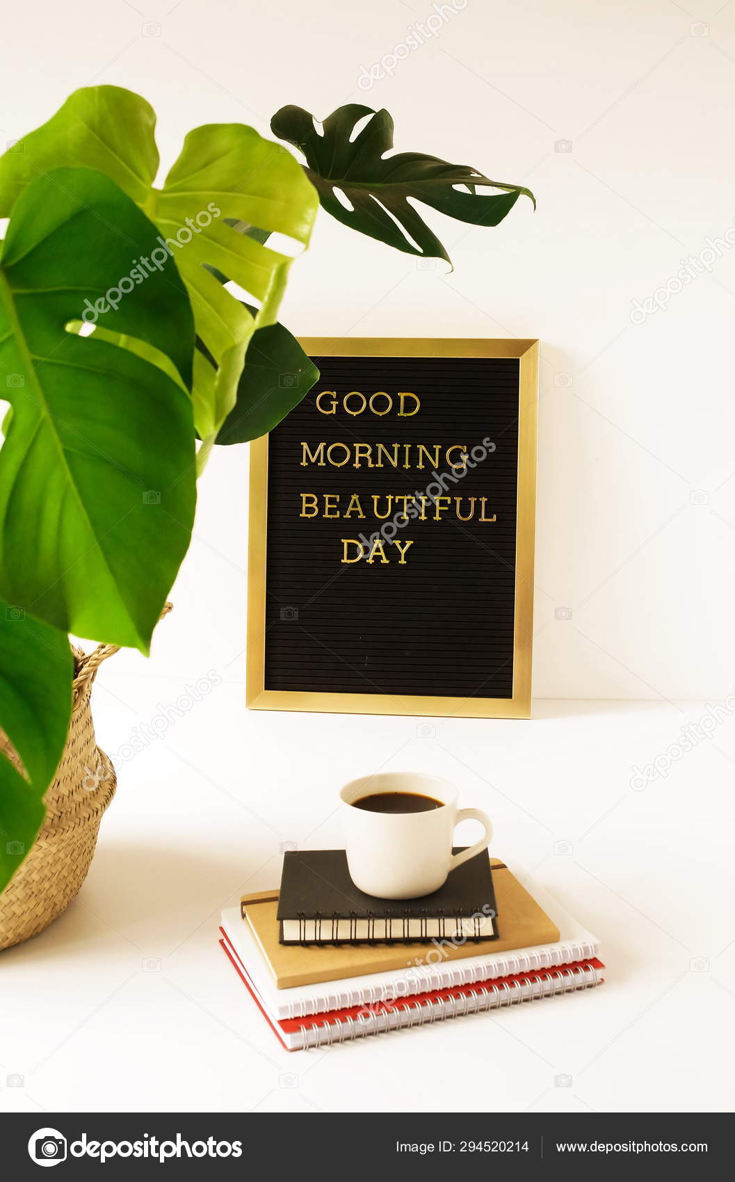 Coffee Flowerpot Inscription Good Morning Beautiful Day Board Stock Photo Image By C Si 27star 294520214