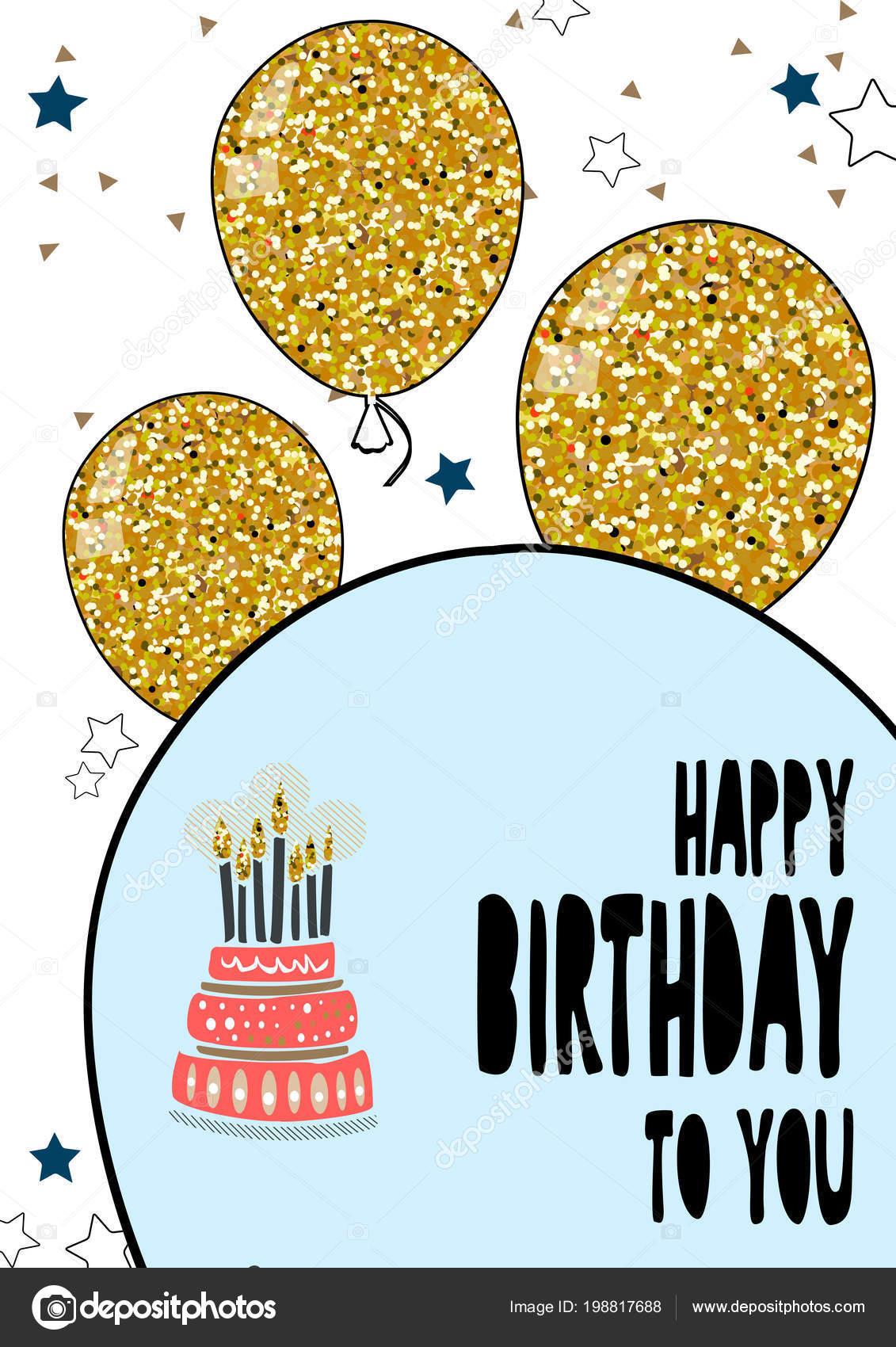 Happy Birthday greeting hand drawn modern card background. 8