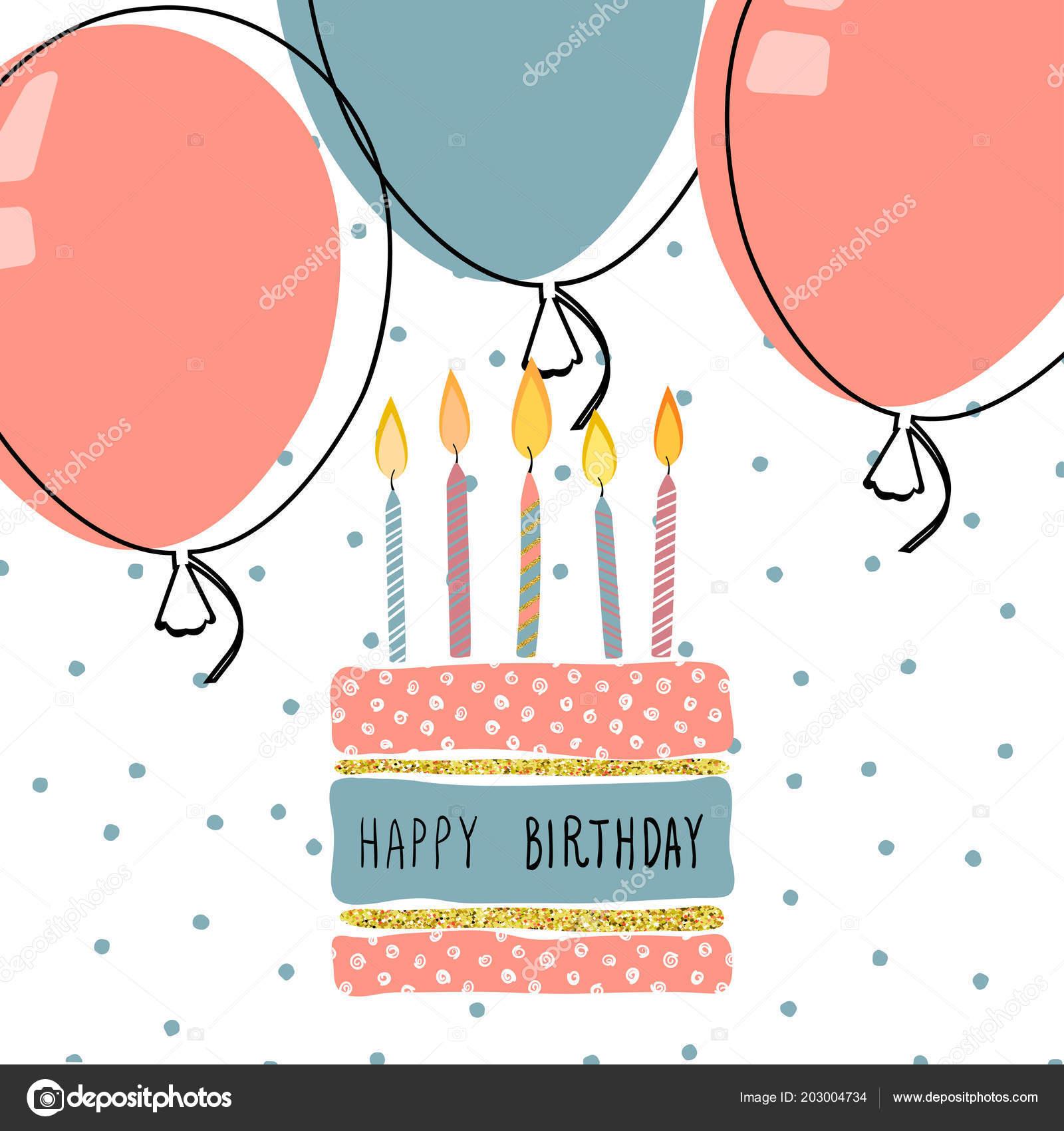 Cute Birthday Greeting Card Handdrawn Background Design Stock